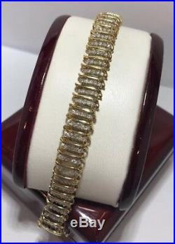Wide 10k Yellow Gold 3-4 Ct Diamond S Link 5 Row Pave Tennis Wedding Bracelet 7
