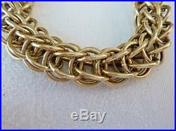 Wide 14K Yellow Gold Bracelet Large Round Interlocking Rings Chain 35.4 Grams