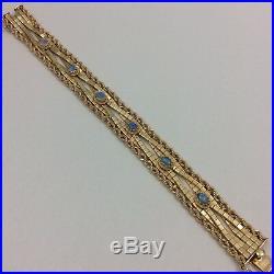 Wide 14k Yellow Gold Opal Bracelet