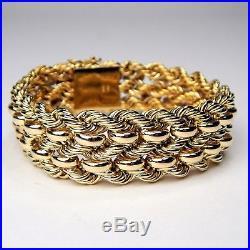 Wide 19.1 mm Flexible Woven Rope Style Link Bracelet 14 kt Gold 7 5/8 #4699