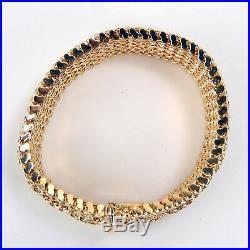 Wide 1 1/8 Woven Mesh Bracelet 18 kt Yellow Gold 7 3/4 A3808