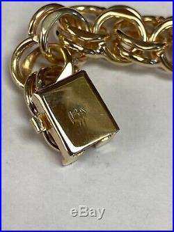 Wide And Heavy Vintage 14k Yellow Gold Double Link Charm Bracelet, 7.25, 37.2g