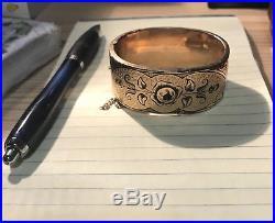 Wide Antique Victorian Edwardian Engraved Gold Filled Bangle Bracelet Two Design