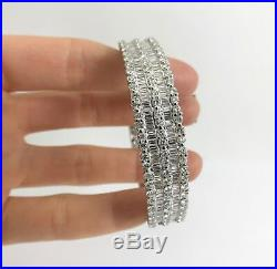 Wide Baguette and Round Diamond Bangle Bracelet in 18K White Gold, 4.79 CTW