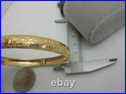 Wide Diamond Cut Solid 10k Yellow Gold Bangle Bracelet With Safety Clasp