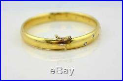 Wide Etoile Style Bangle 18KT Yellow Gold & Diamond bracelet 750