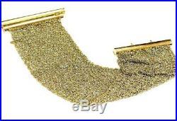 Wide Flexible Mesh Style Bracelet 18K yellow white Gold 42.6 grams 7