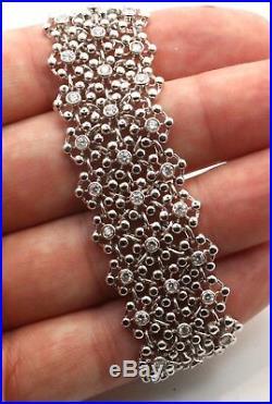 Wide Flexible Mesh Style Diamond Bracelet 18K White Gold 2.85ct