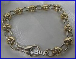 Wide & Heavy Mens 14k Solid Gold 8 1/2 Link 9 MM Bracelet 39.4 Grams Sharp