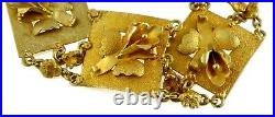 Wide Link 14K Gold Art Nouveau Floral Bracelet 3d Flowers Satin Finish ca. 1920