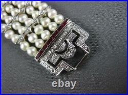 Wide & Long 1.37ct Diamond & Aaa Ruby & South Sea Pearl 14kt White Gold Bracelet