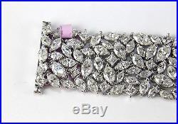 Wide Multi Shape Cluster Diamond Carpet Tennis Bracelet 18K White Gold 43.60Ct