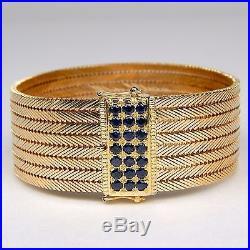 Wide Sapphire 8 Row Bracelet 18 kt Rose & Yellow Gold 7 1/2 #9583