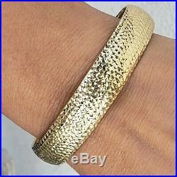 Wide Solid 14k yellow Gold Diamond Cut bangle bracelet size medium