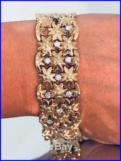 Wide Vintage 18K Yellow Gold Diamond Flower Bracelet