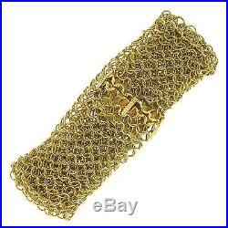 Wide Vintage 18k Yellow Gold Round Twisted Wire Mesh Flexible European Bracelet