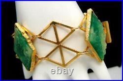 Wide Vintage Signed Vendome Faux Jade Green Glass Bracelet Gold Tone Box Clasp