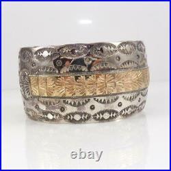 Wilber Yazzie Sterling Silver 14K Gold Native American Wide Cuff Bracelet LFK4