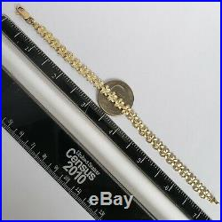 Womans 14k yellow gold diamond cut flower Bracelet 7.25 Inches Long 7 mm wide