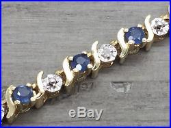 Women's 10K Yellow Gold Blue Sapphire & Diamond 3.7MM Wide Tennis Bracelet 7