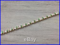 Women's 10K Yellow Gold Emerald & Diamond 4MM Wide Tennis Bracelet 7