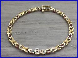 Women's 14K Yellow Gold Red Ruby & Diamond 3.7MM Wide Tennis Bracelet 7