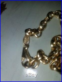 Women's Fancy 5 mm Wide Rolo Link 7.5 in Bracelet in 14k Yellow Gold 4.5 grams