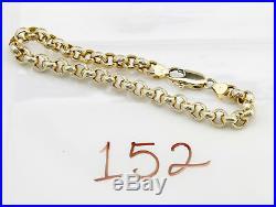 Women's Fancy 6.5 mm Wide Rolo Link 7.5 in Bracelet in 14k Yellow Gold