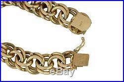 Women's Vintage Estate 14K Yellow Gold Wide Double Link 7.50 Charm Bracelet