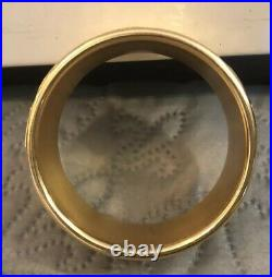 Womens 14K Yellow Gold Stainless Steel Wide Cuff Bangle Bracelet- 44.8 Grams