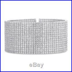 Womens 30.82 CT 18K White Gold Natural Round Cut Diamond Wide Bangle Bracelet