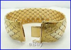 Wow Estate 18K Tri Color Gold Heavy Wide Diamond Etched Bracelet 7.5 Inch A4461